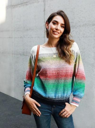 Color-Block Casual Ombre/tie-Dye Shift Sweater