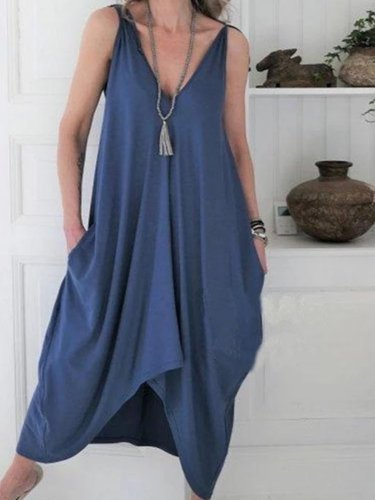 Sexy Solid Color V-Neck Irregular Dress