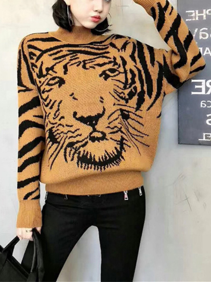 Tiger Vintage Turtleneck Cotton Sweaters