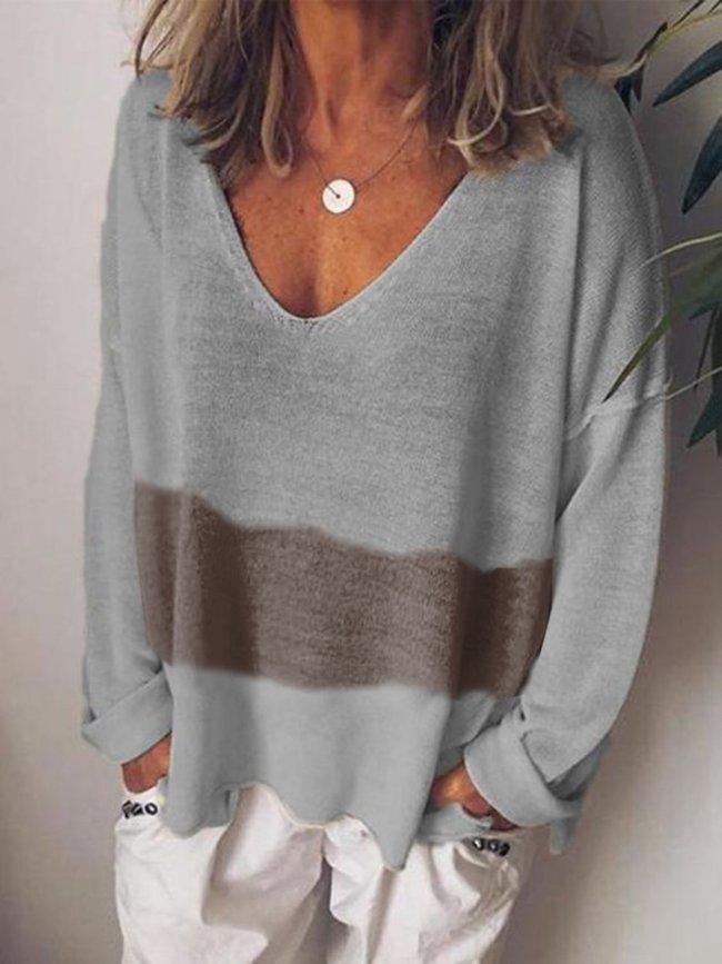 Gray-Brown V Neck Cotton-Blend Long Sleeve Shirts & Tops