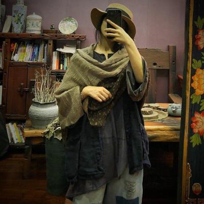 Women Printed Cotton Linen Patchwork Scarves Female Spliced Scarf Ladies Vintage Scarves Spring Autumn