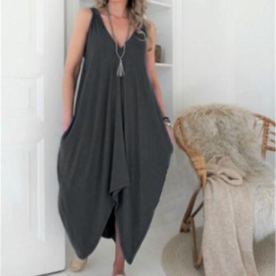 Sexy Solid Color V-Neck Irregular Dress