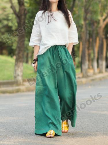Women Linen Solid Color Elastic Waist Loose Casual Wide Leg Pants