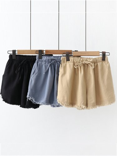 Summer Casual Pockets Cotton Pants
