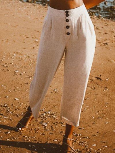 Cotton Casual Plain Pants