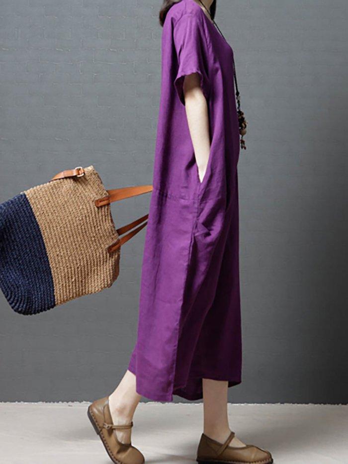 Women Pockets Casual Dress Shift Daily Short Sleeve Solid Dress
