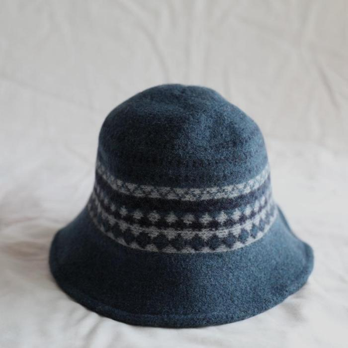 Autumn and winter new wool knitted fisherman hat thick warm foldable Japanese art basin hat