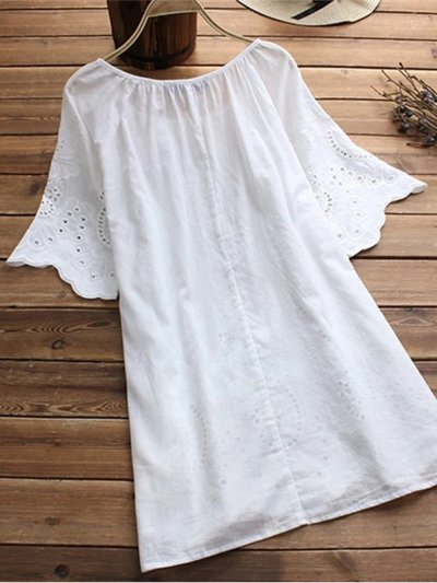 Sweet Embroidery Short Sleeve Shirts & Tops
