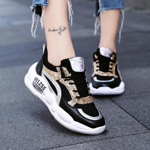 Casual Fashion Paillette Lace-Up Platform Shoes Sneakers