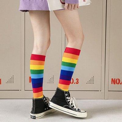 Womens Socks Rainbow Striped Pile Bright Color Knee Socks Casual Cotton Socks