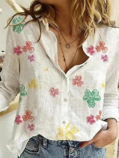 Floral Long Sleeve V Neck Shirts & Tops
