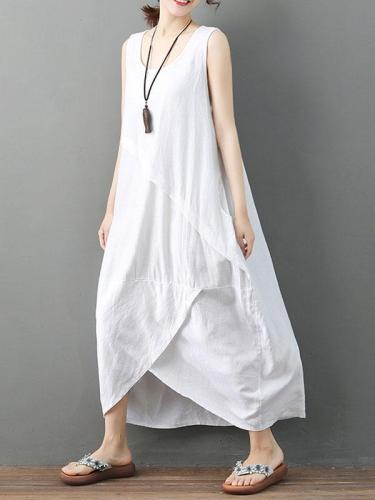 Sleeveless Asymmetrical Solid Color Linen Dress
