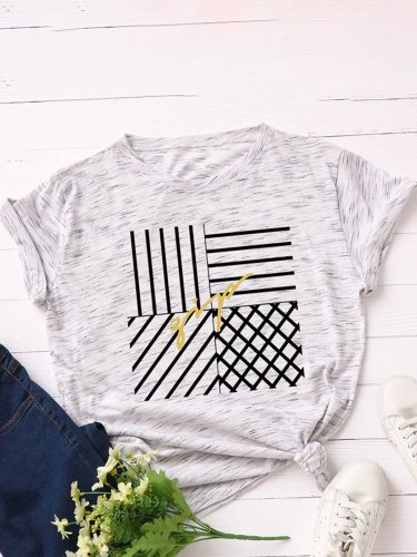 Print Crew Neck Short Sleeve Overhead Casual T-Shirt