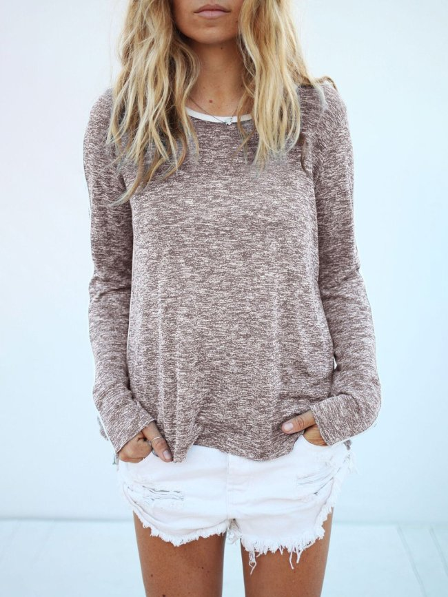 Naked Pink Crew Neck Cotton Casual Solid T-Shirt