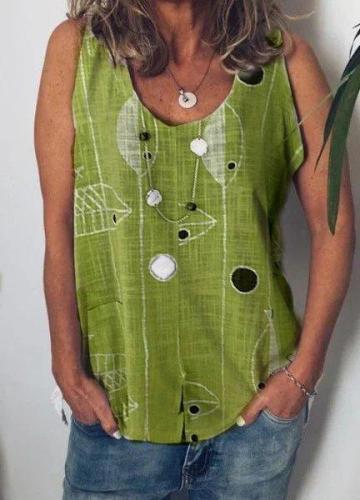 Casual V Neck Sleeveless Cotton Shirts & Tops