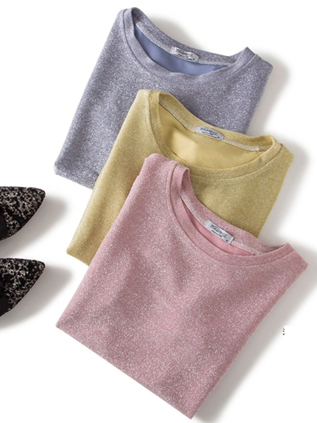 Plus Size Women Short Sleeve Round Neck Vintage Sequin Solid Casual Tops