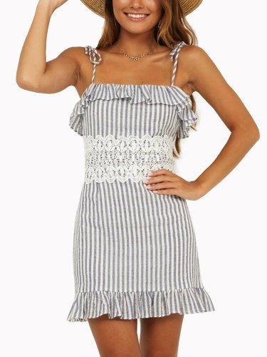 Summer Spaghetti Striped Woman Dresses
