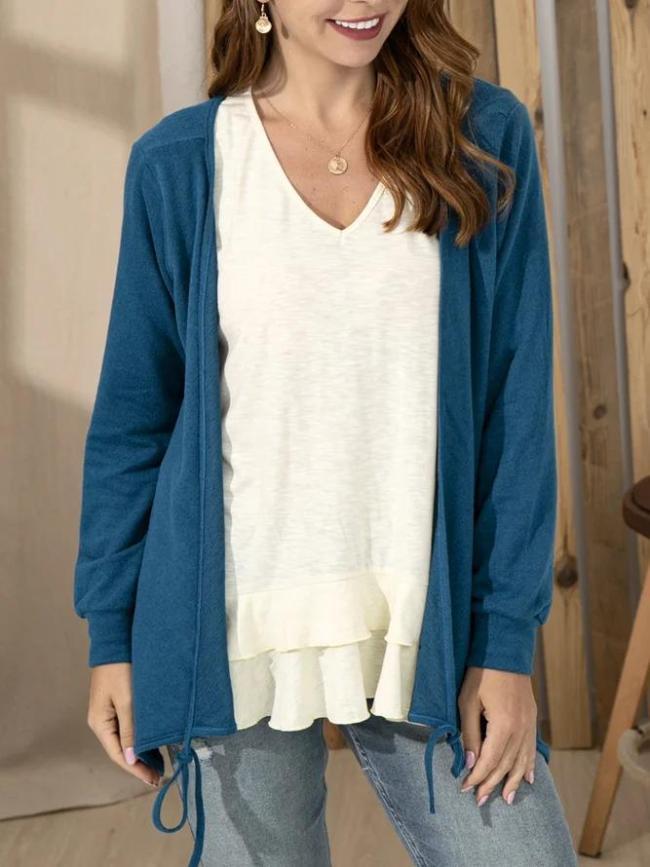 Long Sleeve Plain V Neck Jersey Shirts & Tops
