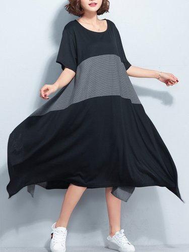 Women Black Color-block Solid Shift Crew Neck Casual Midi Dress