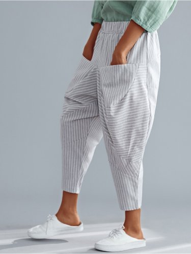 Plus Size Women Striped Loose Casual Pants