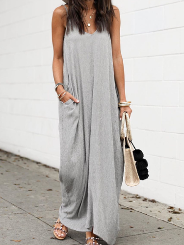 Grey Casual Sleeveless Cotton Solid Dresses