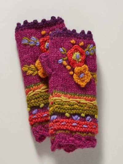 Fuchsia Knitted Tribal Casual Gloves & Mittens