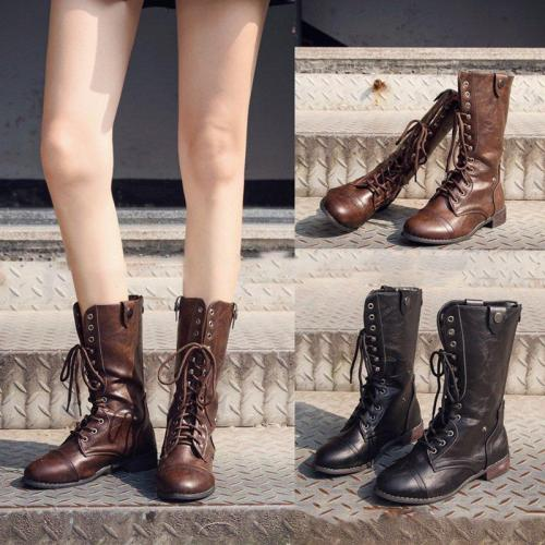 Women Vintage Booties Casual Lace Up Plus Size Shoes