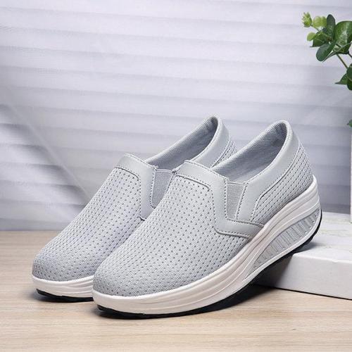Breathable Mesh Pure Color Rocker Sole Shake Casual Shoes