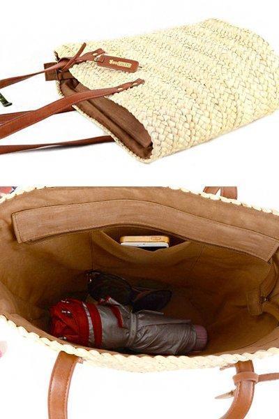Women's Summer Beach Zipper Woven Straw Tote Bag