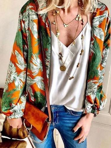 Women's VintagePrinted Color Metal Zipper Long Sleeve Cardigan