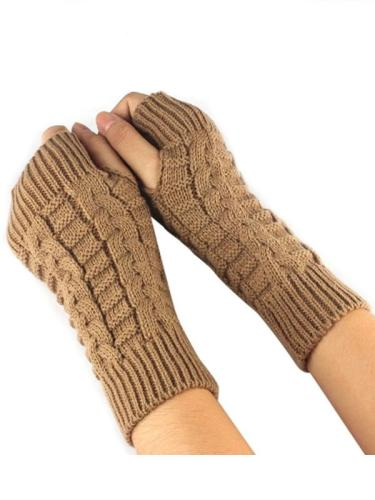 Knitted Arm Fingerless Gloves Long Mittens