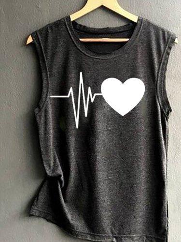 Casual Printed Sleeveless Shirts & Tops