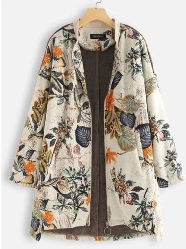 Casual Printed Long Sleeve Cotton-Blend Outerwear