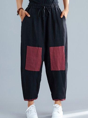 Plus Size Women Vintage Plain Casual Pants