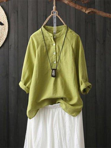 Solid Casual Shirt Collar Vintage Long Sleeve Shirts