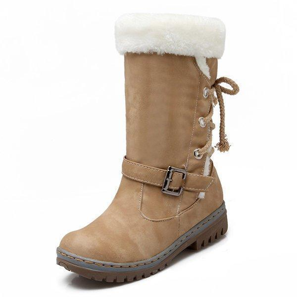 Womens Snow Boots Buckle Fur Lining Mid Calf Flat Boots