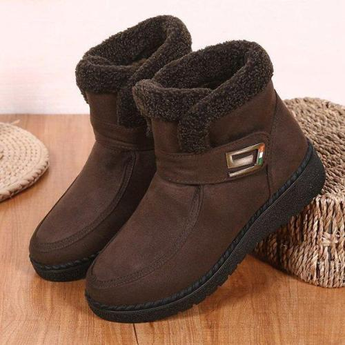 Women's Flat Heel Slip-On Round Toe Warm Booties