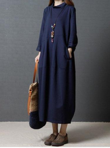 Long Sleeve Women Solid Casual Loose Cotton Dress