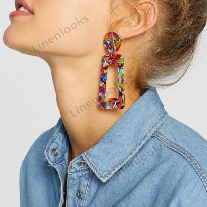 Handmade Drop Earrings New Fashion Geometric Long Acrylic Metal Earrings