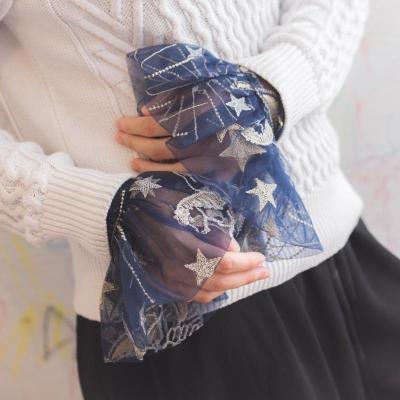 Women Elegant Lace Yarn Detachable False Puff Sweater Beaded Decorative