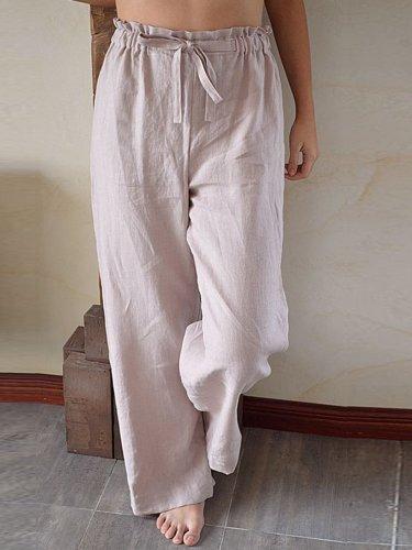 Apricot Solid Cotton-Blend Casual Pants