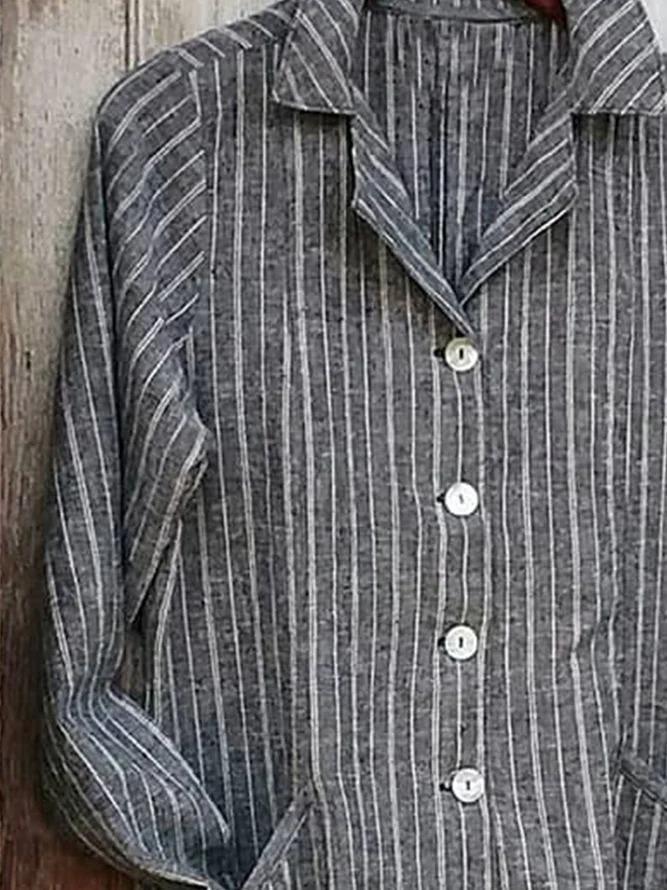 Gray Shirt Collar Linen Long Sleeve Stripes Shirts & Tops