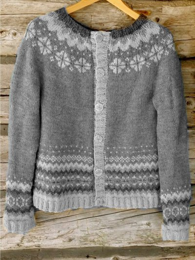 Casual Plus Size Round Neck Sweater Outwear