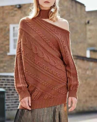 Fashion Hollow Shoulder High Collar Solid Color Knit Sweater