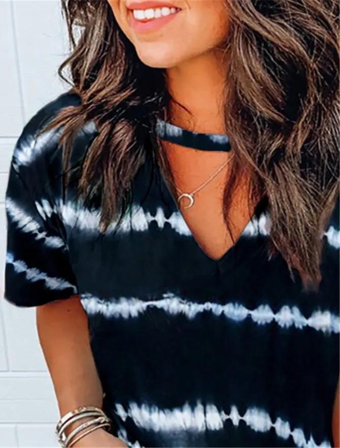 Black Ombre/tie-Dye Short Sleeve Shirts & Tops