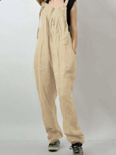 Linen Plain Spaghetti-Strap Jumpsuits