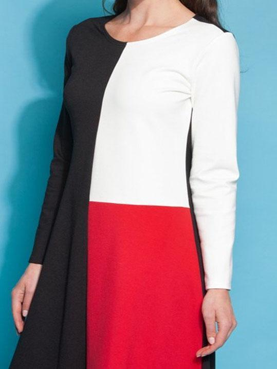 Casual Round Neck Long Sleeve Patchwork Dresses