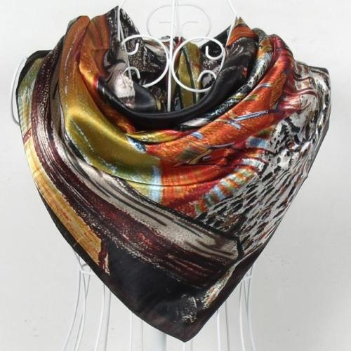 Spring Autumn Female Silk Square Scarf Shawl