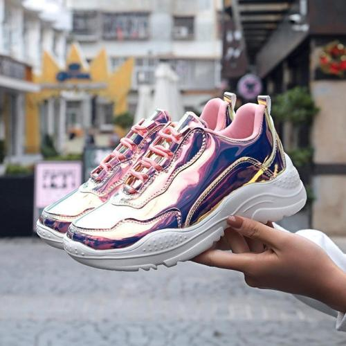 Increased Colorful Mirror Casual Shoes