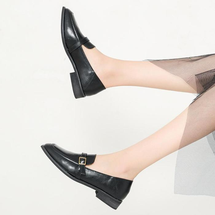 Casual PU Square Toe Low Heel Loafers